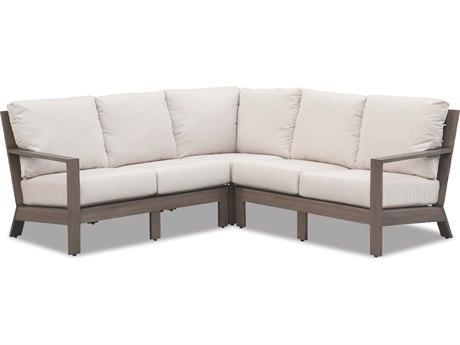 Sunset West Quick Ship Laguna Aluminum Sectional in Canvas Flax with self welt