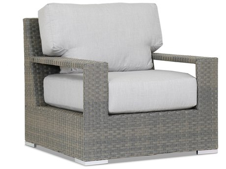 Sunset West Quick Ship Hampton Wicker Lounge Chair in Cast Silver