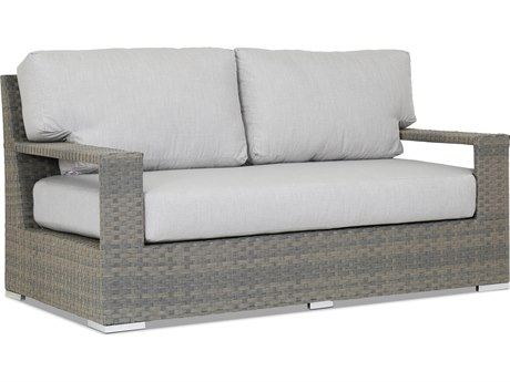 Sunset West Quick Ship Hampton Wicker Loveseat in Cast Silver