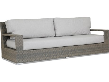 Sunset West Quick Ship Hampton Wicker Sofa in Cast Silver