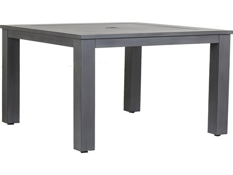 Sunset West Quick Ship Redondo Aluminum 48'' Wide Square Dining Table with Umbrella Hole