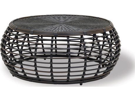 Sunset West Venice Chocolate Brown Wicker 43.5'' Round Coffee Table