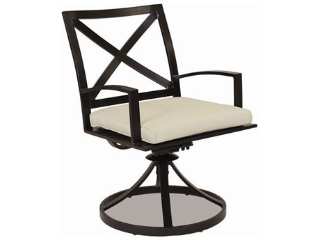 Sunset West La Jolla Quick Ship Aluminum Swivel Dining Chair in Canvas Flax with Self Welt
