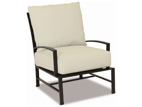 Sunset West La Jolla Aluminum Lounge Chair in Canvas Flax with Self Welt