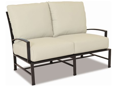 Sunset West La Jolla Aluminum Loveseat in Canvas Flax with Self Welt