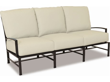 Sunset West La Jolla Aluminum Sofa in Canvas Flax with Self Welt