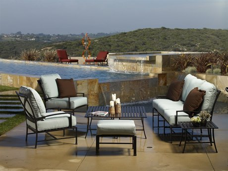 Sunset West Quick Ship La Jolla Aluminum Sofa Club Chairs and Ottoman with Coffee Tables and End Table