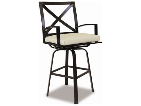 Sunset West La Jolla Aluminum Swivel Bar Stool in Canvas Flax with Self Welt