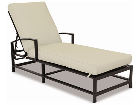Sunset West La Jolla Aluminum Chaise Lounge in Canvas Flax with Self Welt