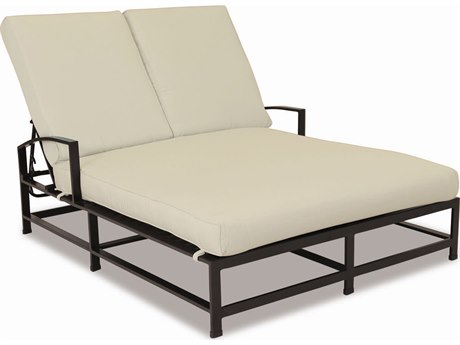 Sunset West La Jolla Aluminum Double Chaise Lounge in Canvas Flax with Self Welt