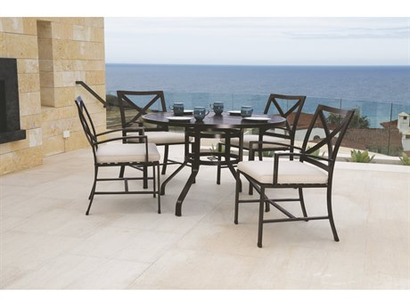 Sunset West Quick Ship La Jolla Aluminum 48 Round Dining Table with Dining Chairs