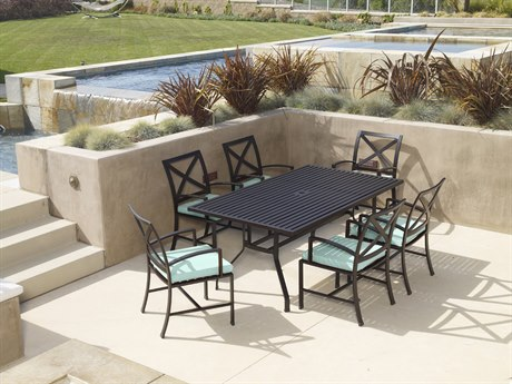 Sunset West Quick Ship La Jolla Aluminum 72 Rectangular Dining Table with Dining Chairs in Canvas Flax