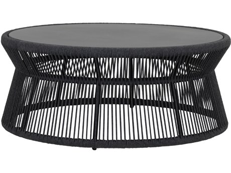 Milano Quick Ship Wicker Charcoal 41'' Wide Round Coffee Table