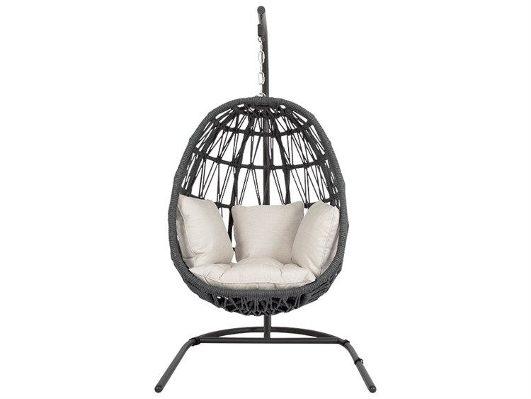 Sunset West Milano Quick Ship Wicker Hanging Swing Chair in Echo Ash