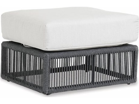 Sunset West Milano Woven Acrylic Rope Ottoman in Echo Ash