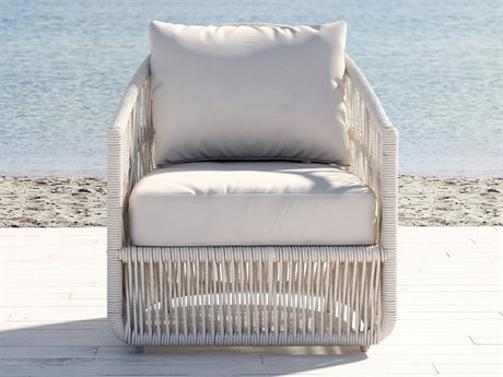 Sunset West Dana Quick Ship Wicker Cushion Lounge Chair in Linen Canvas with Self Welt