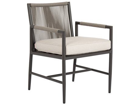 Sunset West Pietra Quick Ship Aluminum Dining Arm Chair in Echo Ash