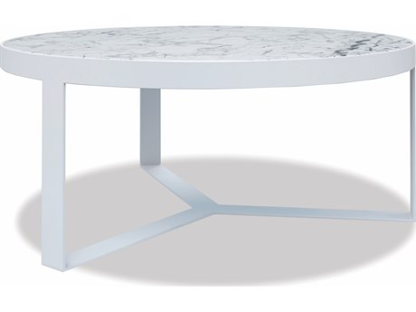 Sunset West Honed Carrara Quick Ship Aluminum Satin White 38''Wide Round Coffee Table