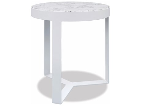 Sunset West Honed Carrara Quick Ship Aluminum Satin White 18''Wide Round End Table