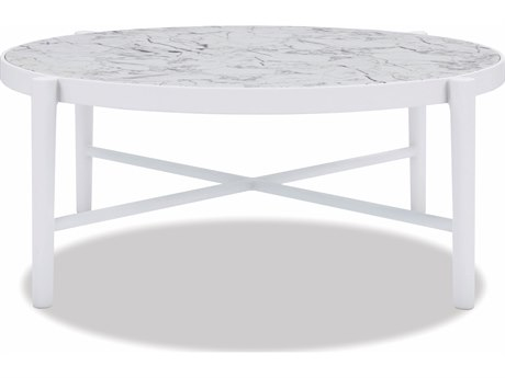 Sunset West Honed Carrara Quick Ship Aluminum Satin White 40''Wide Round Coffee Table