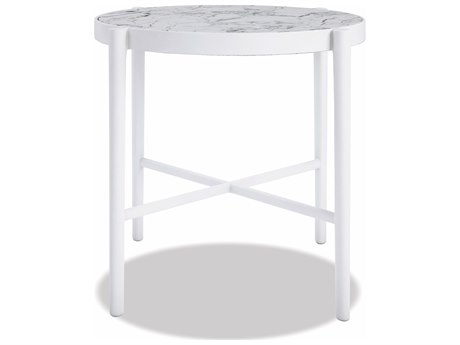 Sunset West Honed Carrara Quick Ship Aluminum Satin White 20''Wide Round End Table