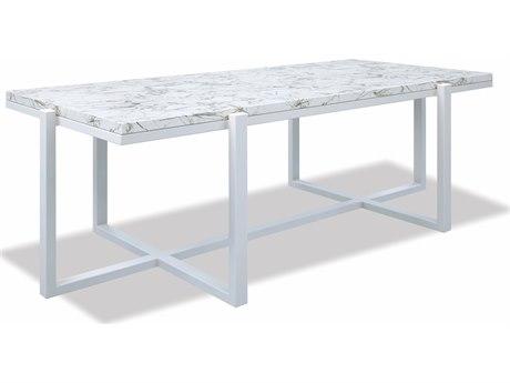 Sunset West Honed Carrara - Quick Ship 52'' Wide Aluminum Rectangular Coffee Table