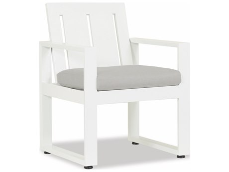 Sunset West Newport Frosted White Aluminum Dining Arm Chair in Cast Silver