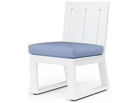 Sunset West Newport Frosted White Aluminum Dining Side Chair