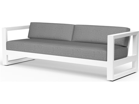 Sunset West Newport Frosted White Aluminum Sofa