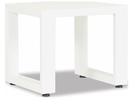 Sunset West Newport Frosted White Aluminum 20''Wide Square End Table