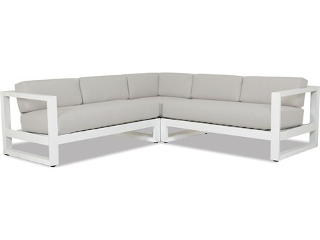 Sunset West Newport Frosted White Aluminum Sectional in Cast Silver