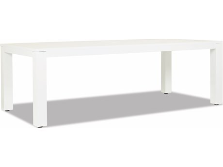 Sunset West Newport Frosted White Aluminum 90''W x 42''D Rectangular Dining Table