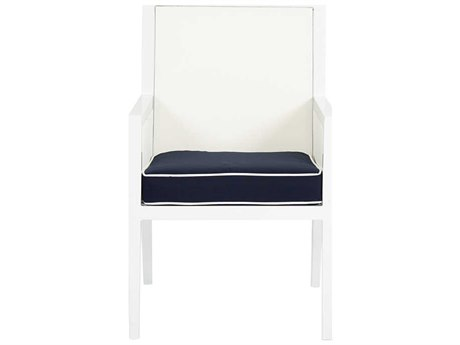 Sunset West Regatta Quick Ship Aluminum Dining Arm Chair in Canvas Navy with Canvas White Welt
