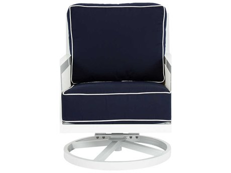 Sunset West Regatta Quick Ship Aluminum Swivel Rocker Lounge Chair in Canvas Navy with Canvas White Welt