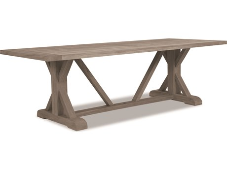 Sunset West Teak Driftwood 94''W x 40''D Rectangular Trestle Dining Table