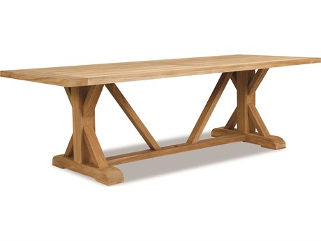 Sunset West Teak Rustic Natural 94''W x 40''D Rectangular Trestle Dining Table