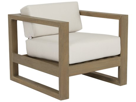 Sunset West Coastal Teak Quick Ship Lounge Chair in Canvas Canvas