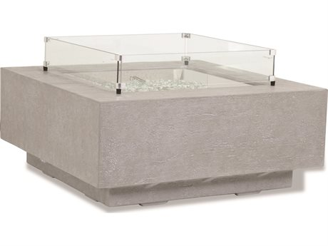 Sunset West Gravelstone - Quick Ship Concrete Square Patio Fire Pit Table with 20'' Wide Concrete Round Tank Cover