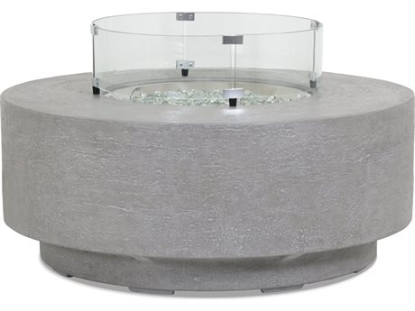 Sunset West Gravelstone - Quick Ship Concrete Round Fire Pit Table with 20'' Wide Concrete Square Tank Cover