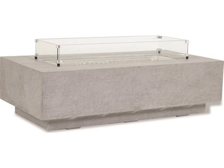 Sunset West Gravelstone - Quick Ship 60'' Wide Concrete Rectangular Fire Pit Table with 20'' Wide Concrete Square Tank Cover