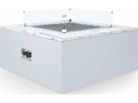 Sunset West White Carrara Marble Aluminum 42''Wide Square Fire Pit Table