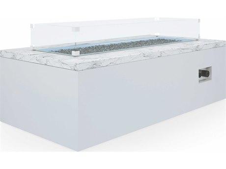 Sunset West White Carrara Marble Aluminum 60''W x 30''D Rectangular Fire Pit Table