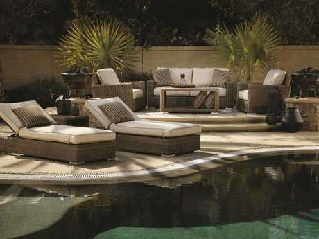 Sunset West Quick Ship Coronado Wicker Lounge Set in Canvas Flax with Self Welt SWCORONLNGESET