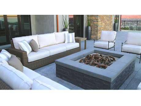 Sunset West Coronado Wicker Fire Pit Lounge Set