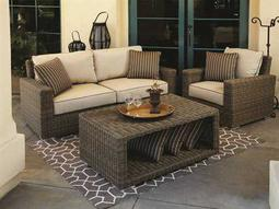 Coronado Wicker Loveseat with Club Chair and Coffee Table