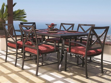 Sunset West La Jolla Quick Ship Aluminum Espresso Dining Set in Canvas Flax with Self Welt