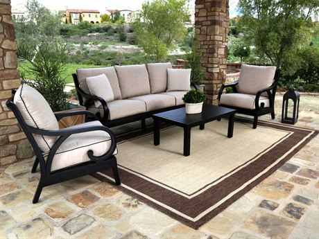 Sunset West Quick Ship Monterey Aluminum Lounge Set in Frequency Sand with Canvas Walnut Welt