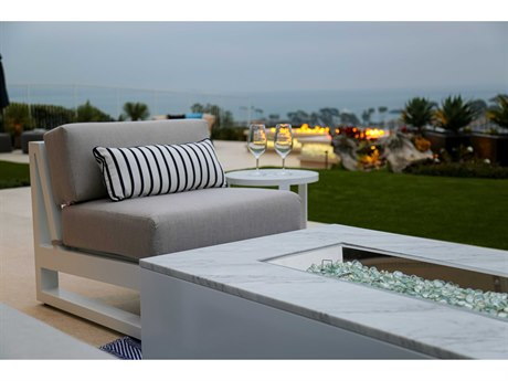 Sunset West Newport Quick Ship Aluminum Frosted White Fire Pit Lounge Set in Cast Silver