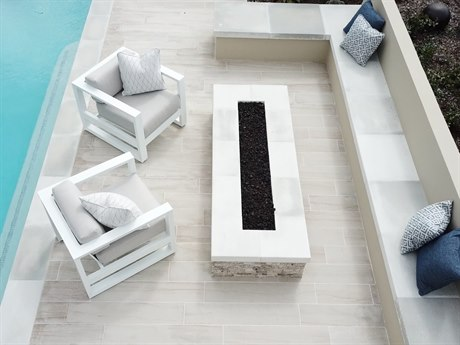 Sunset West Newport Custom Aluminum Frosted White Fire Pit Lounge Set