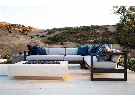 Sunset West Redondo Aluminum Sectional Fire Pit Lounge Set